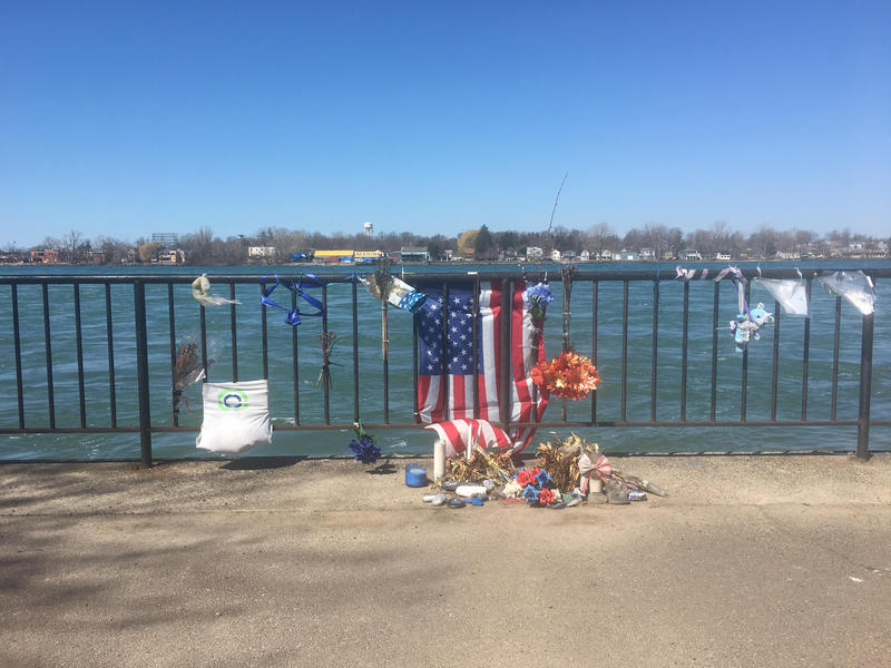 A memorial to Officer Craig Lehner along the Niagara River in Broderick Park.