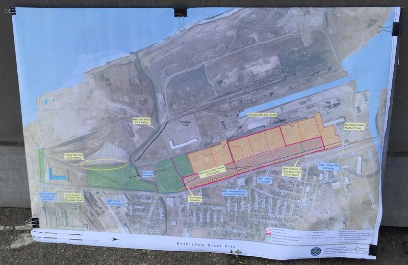 A rendering of plans for developing the Shoreline Trail in Lackawanna, displayed Thursday at a news conference on land where Bethlehem Steel once stood.