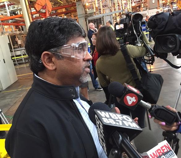 Tonawanda Engine Plant Director Ram Ramanujam speaks to reporters following the official announcement of a new engine line to be produced locally.