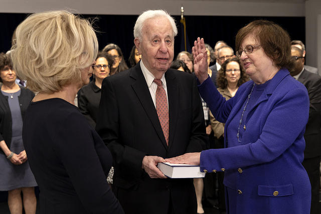 Acting Attorney General Barbara Underwood was sworn in by New York Chief Judge Janet DiFiore.