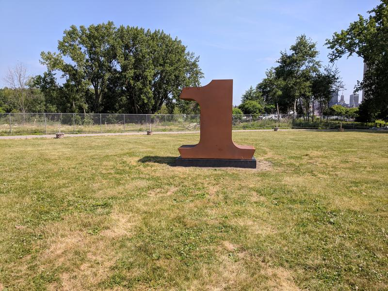 "The number 1 in Robert Indiana's ""NUMBERS ONE through ZERO"" on display at Wilkeson Pointe on Buffalo's Outer Harbor"