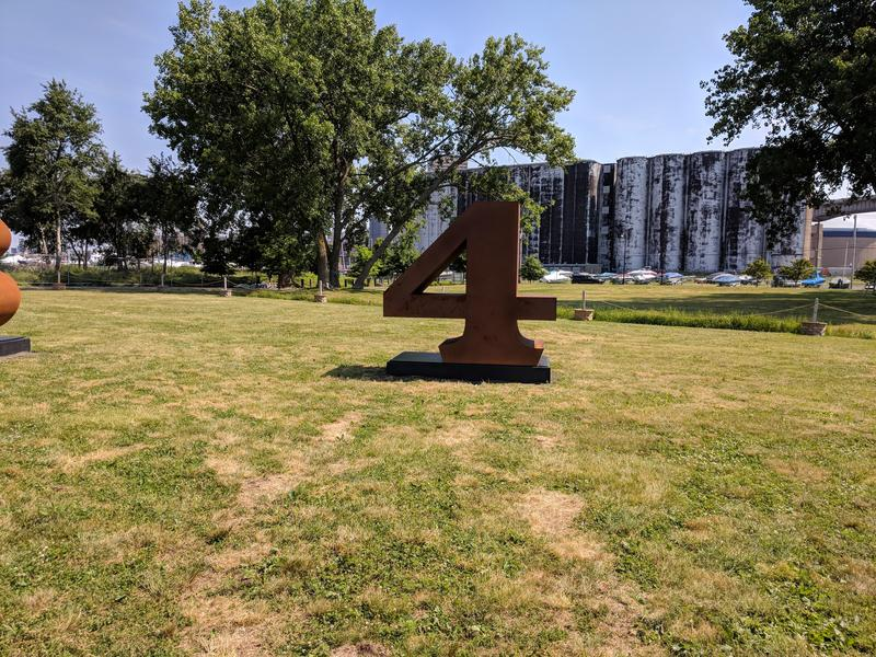"The number 4 in Robert Indiana's ""NUMBERS ONE through ZERO"" on display at Wilkeson Pointe on Buffalo's Outer Harbor"