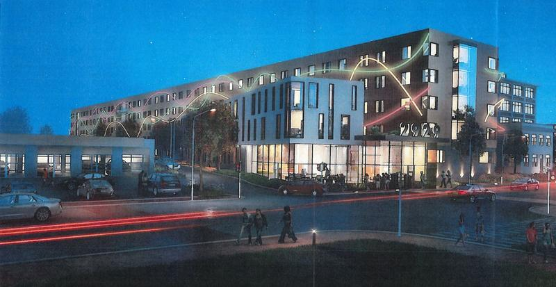 Rendering of the graduate housing complex