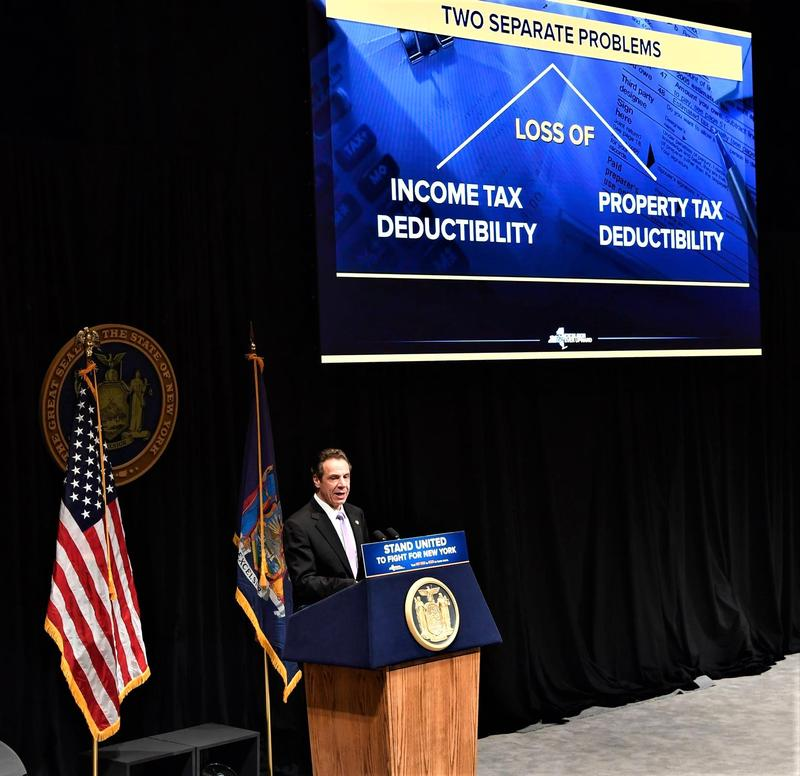 Gov. Andrew Cuomo proposes ways to circumvent the new federal tax law that places a cap on state and local income tax deductions.