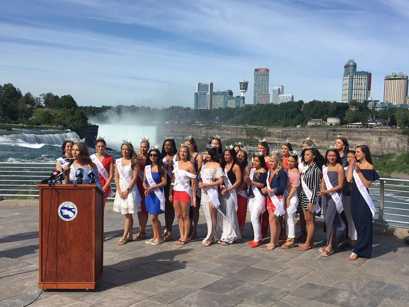 With Niagara Falls providing a majestic backdrop, 24 contestants for Miss New York addressed the media Tuesday.