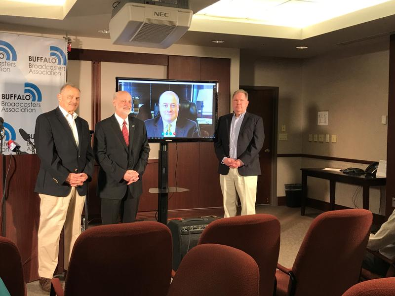 New members of the Buffalo Broadcasters Association Hall of Fame:  (L to R) John Beard, Roger Christian, Tom Langmyer and John Hager
