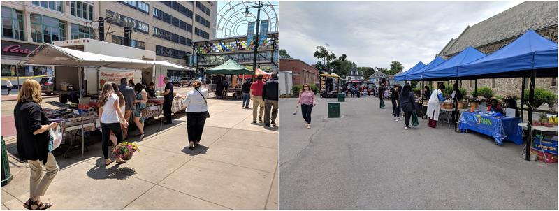(left) The Downtown Country Market, (right) the ECMC Farmers' Market