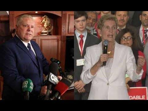 Doug Ford (left) to take over as Ontario premier from Kathleen Wynne.