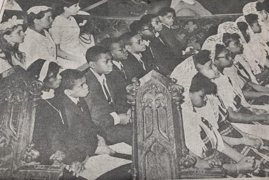 Sr. Felicia and her students from St. Nicholas School in Buffalo, At RFK's Memorial Service in St. Joseph's Cathedral, June 11, 1968