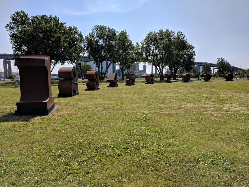 "Robert Indiana's ""NUMBERS ONE through ZERO"" on display at Wilkeson Pointe on Buffalo's Outer Harbor"