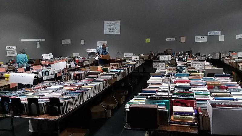 Another view of the collectibles wing of the AAUW book sale, which raises funds for the organization's scholarship and interest-free student loan programs.