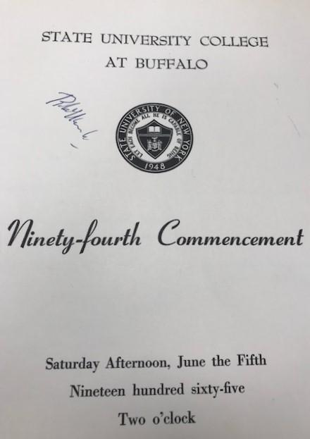 RFK's Autograph on the Buffalo State College Commencment Program, 1965