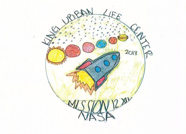 An original mission patch design created by Teah Stevens of King Urban Life Center. A copy was brought into space Friday morning.