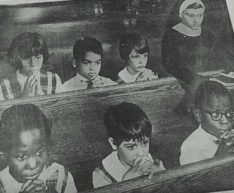 Students at St. Brigid's Elementary School at a service in honor of RFK, June 7, 1968