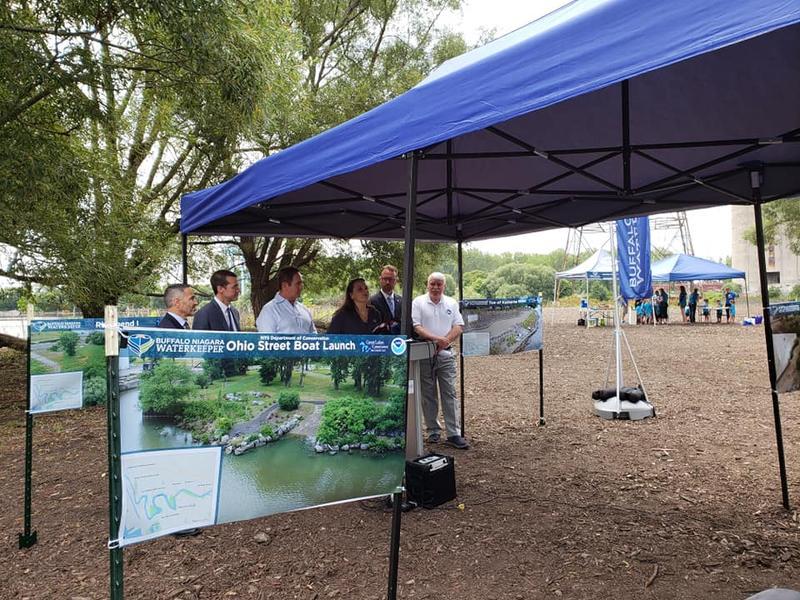 Buffalo Niagara Waterkeeper celebrating the completion of the Buffalo River habitat restoration