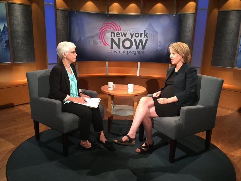 Attorney General candidate Zephyr Teachout (right) sits down for an interview with WBFO Albany Correspondent Karen DeWitt.