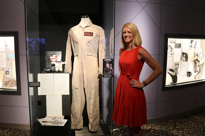 Executive Director Journey Gunderson and Harold Ramis' Ghostbusters suit