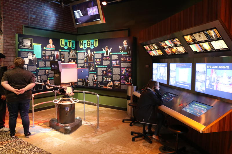 Visitors can operate a TV camera in the Late Night comedy section