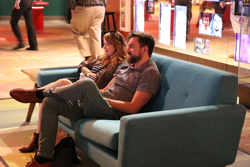 Nathan Marshall kicks back in the National Comedy Center's TV lounge