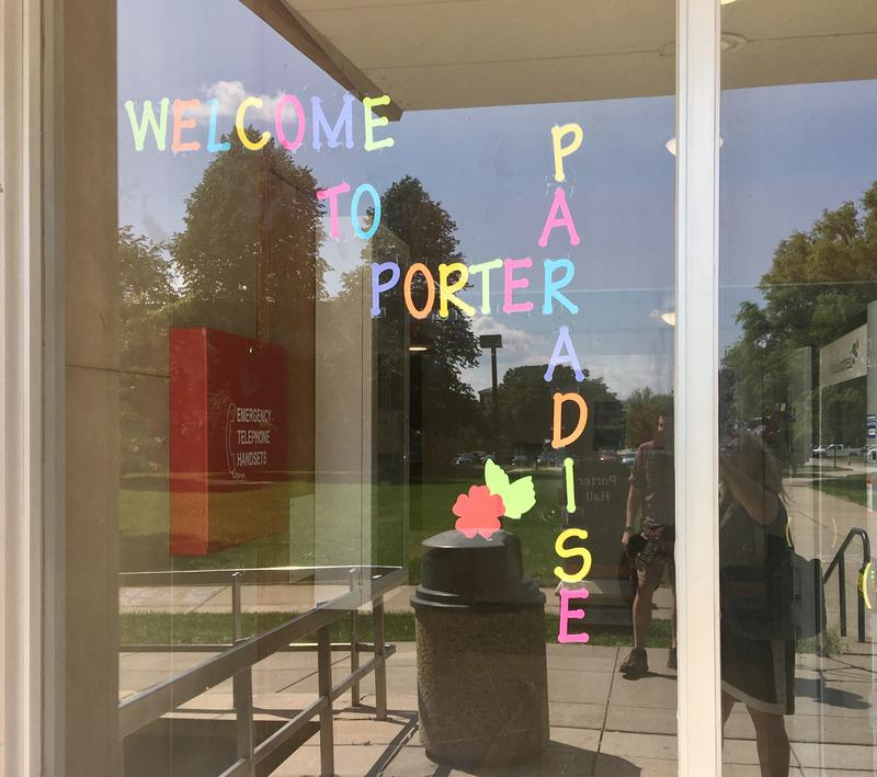 Outside Porter Hall dorm.