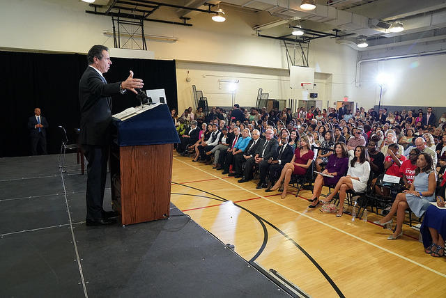 Cuomo spoke before women and girls on Wednesday when he signed a bill against sex trafficking.