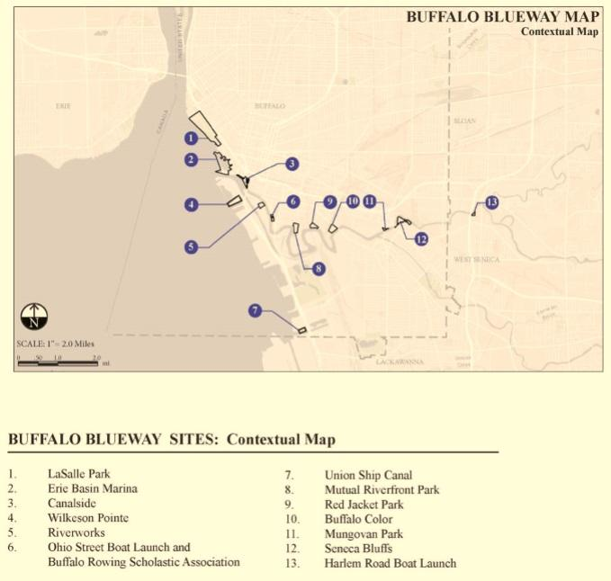 A map of 13 proposed Blueway sites that will create public access points to local waterways.
