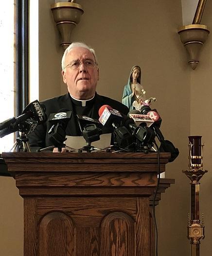 Bishop Richard Malone addresses the media Sunday.