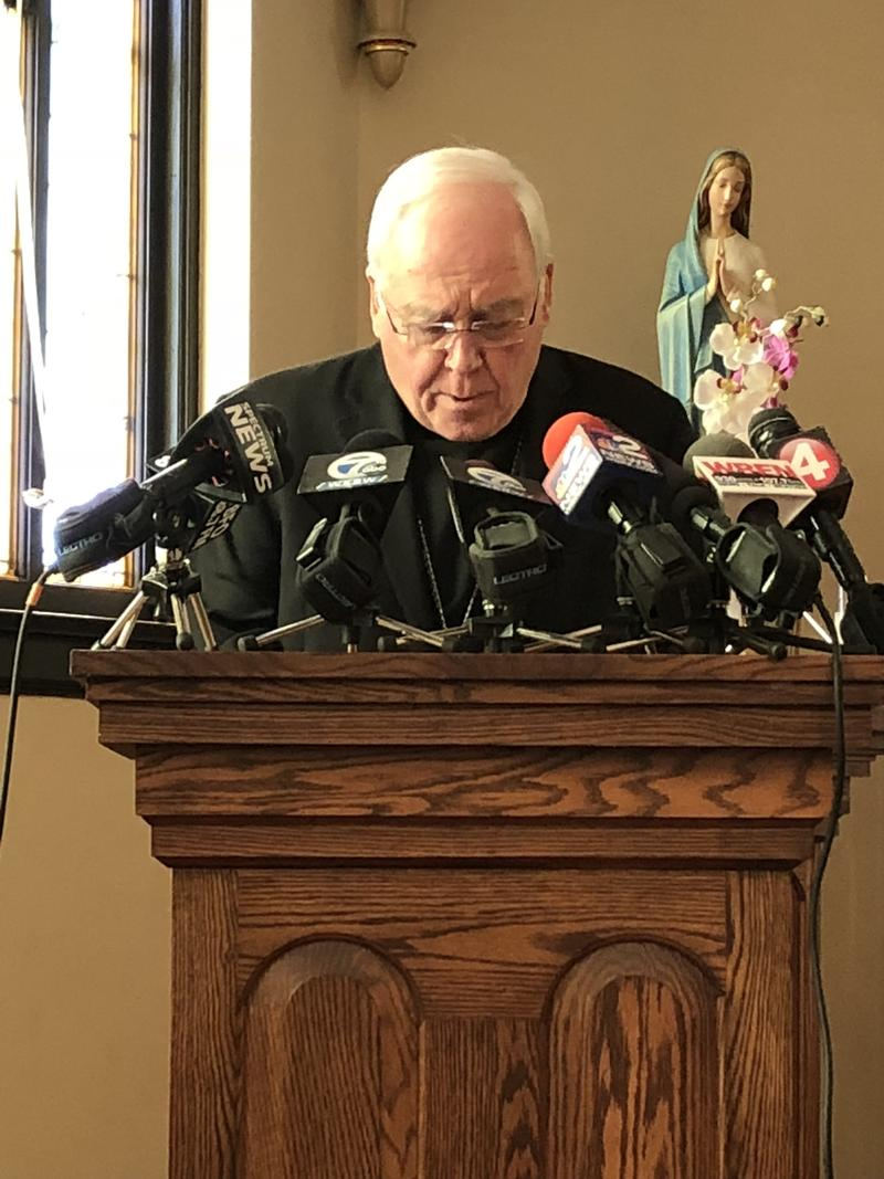 Bishop Malone ends his statement with a prayer.