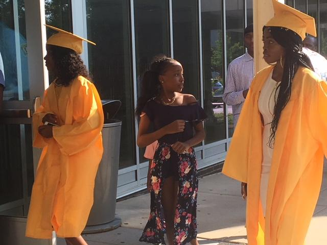 Students arriving at McKinley for district-wide graduation.