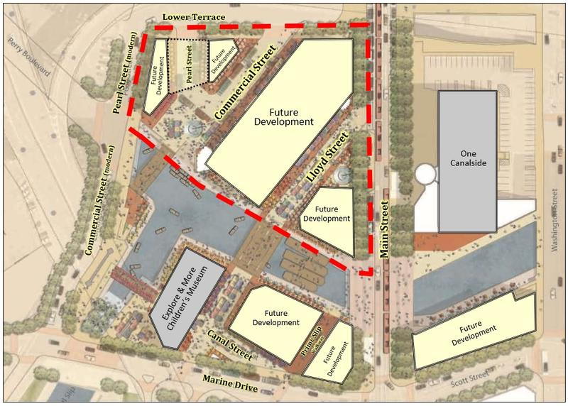 A map of plans for the redevelopment of the North Aud Block. New York State is committing $10 million to rebuild the streets as they were during the Erie Canal era.