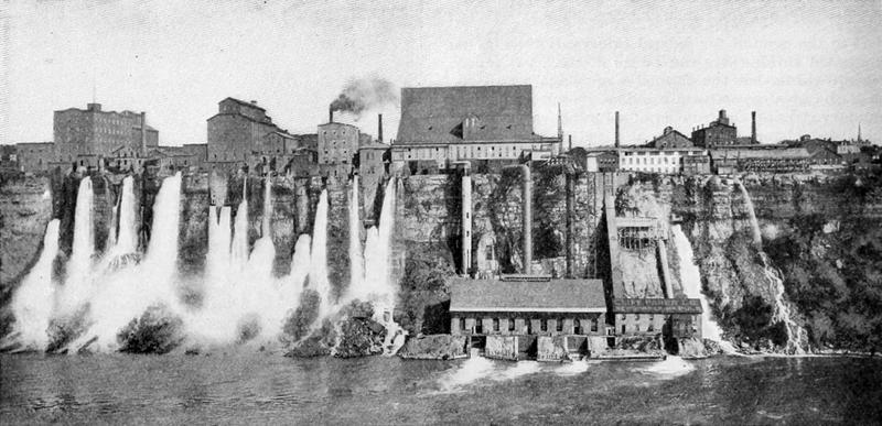 """The Niagara Gorge in the 19th century, afflicted, as the great landscape architect Frederick Law Olmsted observed, by """"mills and factories everywhere, hovels, fences and patent medicine signs."""""""