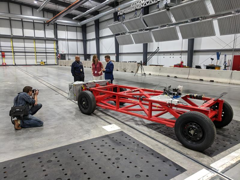New York State Assembly Speaker Carl Heastie and Assembly Member Monica Wallace being shown around the crash-test facility at Calspan in Cheektowaga