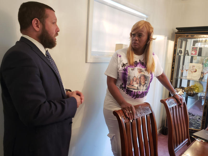 by ANGELICA A. MORRISON / Tawana Wyatt speaks with her attorney Matthew Albert about the civil suit for her daughter's death.