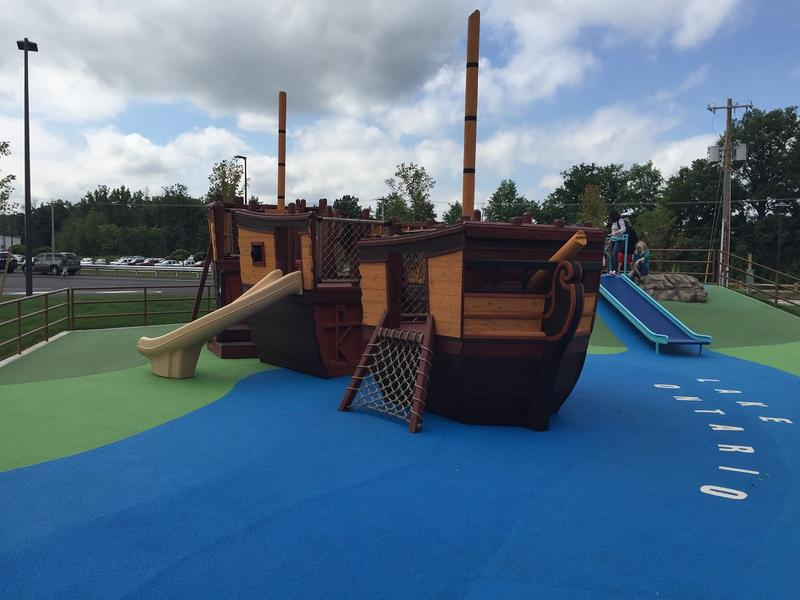 Another view of the Great Lakes Shipwreck themed playground outside the Western New York Welcome Center.