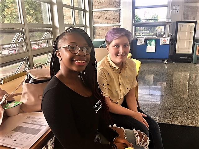 DaVinci students Carolyn Dokey & Nakina Nor were ready to begin their school year.