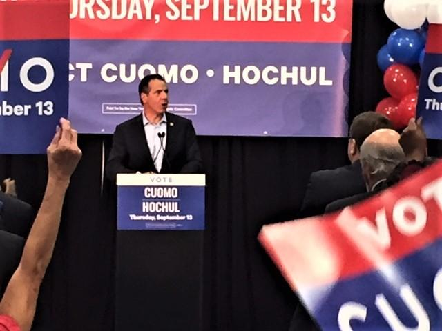 Gov. Andrew Cuomo rallies his political troops.