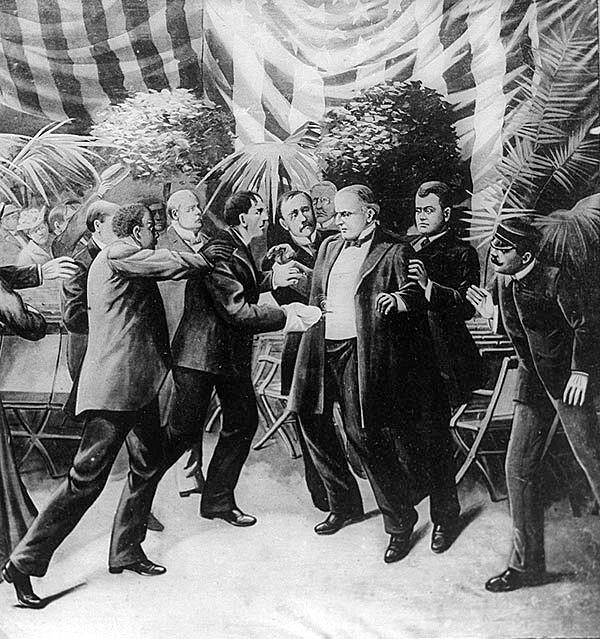 The assassination of President William McKinley at the Pan-American Exposition Temple of Music, Sept. 6, 1901. McKinley, shot at point-blank range with a concealed pistol by anarchist Leon Czolgosz, died of his wounds on Sept. 14.