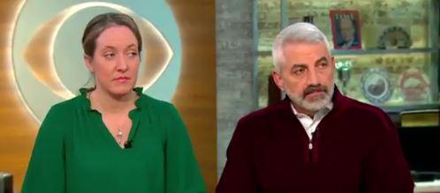 """Former executive secretary to Bishop Richard Malone, Siobahn O'Connor (left), and Deacon Paul Snyder appear on """"CBS This Morning"""" Monday."""