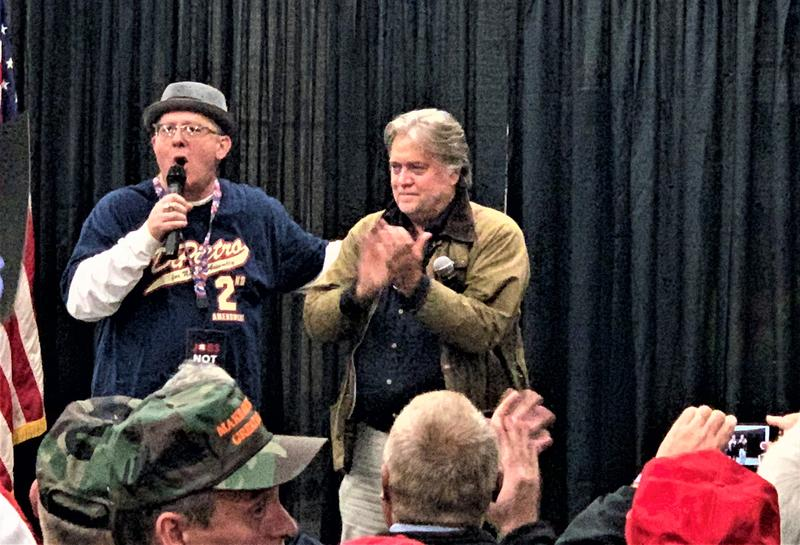 Michael Caputo (left) introduces Steve Bannon at the Jamison Road Fire Hall in Elma.