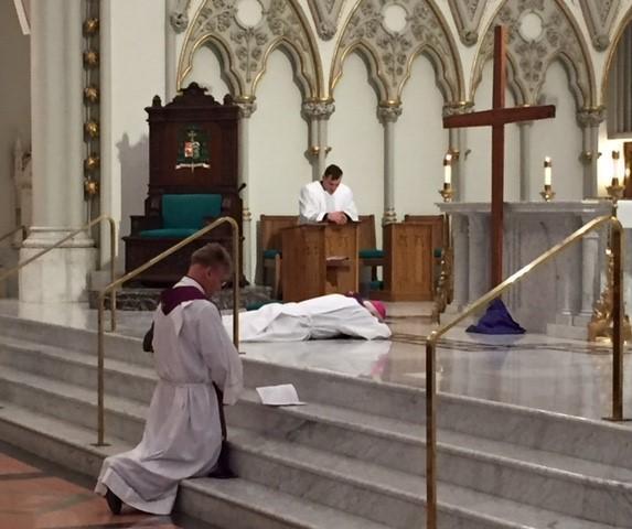 Bishop Richard Malone (center)