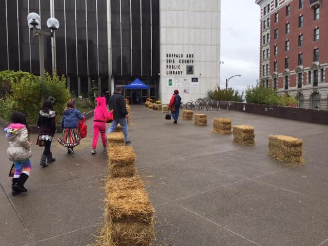 Seasonal bails of hay lined the entrance to downtown's Central Library.