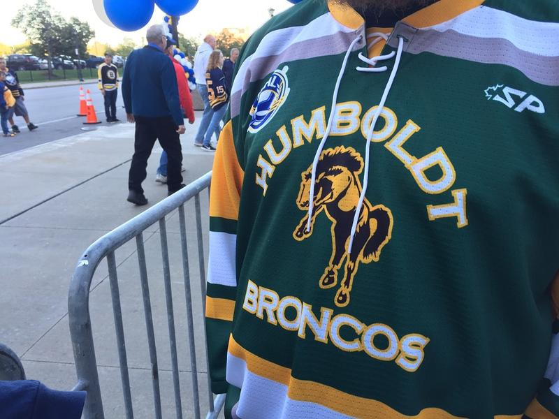 This fan was wearing a jersey of the Humboldt Broncos, a Saskatchewan-based junior hockey team that lost most of its players in a tragid bush crash while traveling to a playoff game earlier this year.