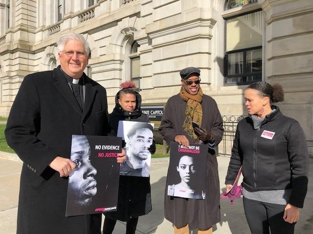 Criminal justice advocates hold a press conference Wednesday at the State Capitol. (left to right) Peter Cook of NYS Council of Churches; Albany activist Klarisse Torriente, Barry Walston of Albany NAACP, Jamaica Miles of Citizen Action.