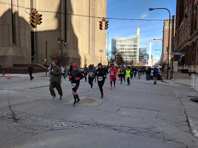Runners on the final stretch of Delaware Avenue.