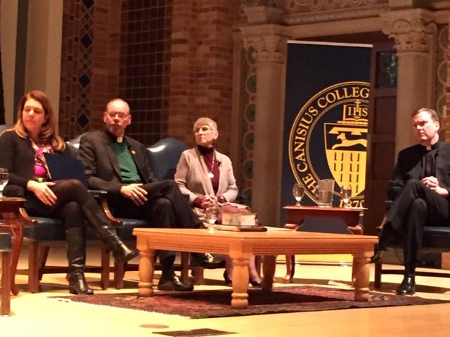 Panelists included (left to right) Kerry Robinsn, Fr. Robert Zilliox, Sister Margaret Carney and Fr. Matt Malone.