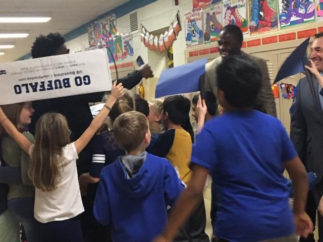 Dodge Elementary students very excited to see UB football players.