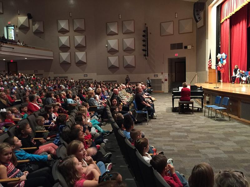 Students assemble in the auditorium at Hoover Elementary School in the Town of Tonawanda, where a Veterans Day Celebration brought men and women in uniform together with youngsters who had plenty of questions - and applause - for their special guests.