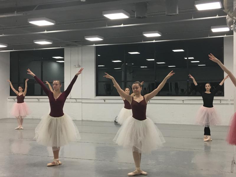 Dancers rehearse for Snowflake scene.