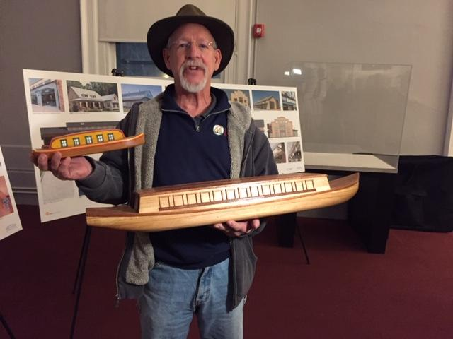 Roger Allen explains the historic boat-building project.