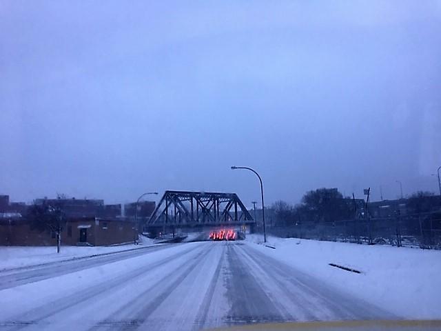 Snow covered Niagara Street in Buffalo Thursday morning.